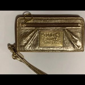 Coach Poppy Gold Leather Wristlet Wallet
